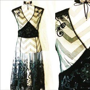 Vintage Sheer Black Lace & Velvet  Gatsby Dress